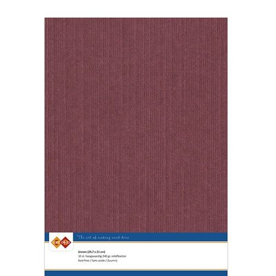 14 Card Deco Linnen A4 10 vel Bordeaux 240grm