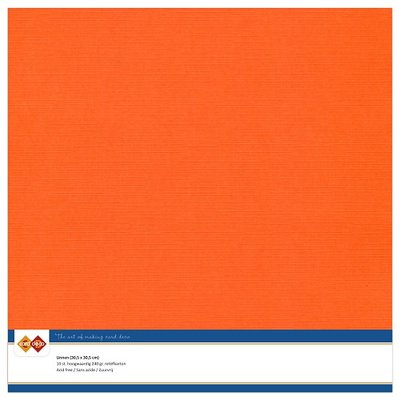 11  Card Deco Linnenkarton - 30,5 x 30,5  Oranje  10 vel