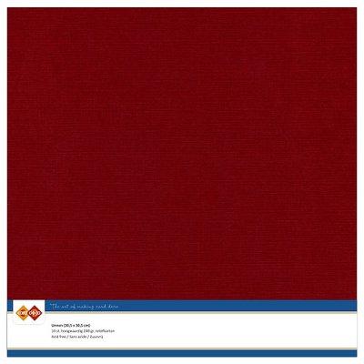 14  Card Deco Linnenkarton - 30,5 x 30,5  Bordeaux  10 vel