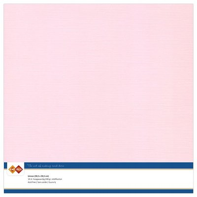 15  Card Deco Linnenkarton - 30,5 x 30,5  Lichtroze  10 vel