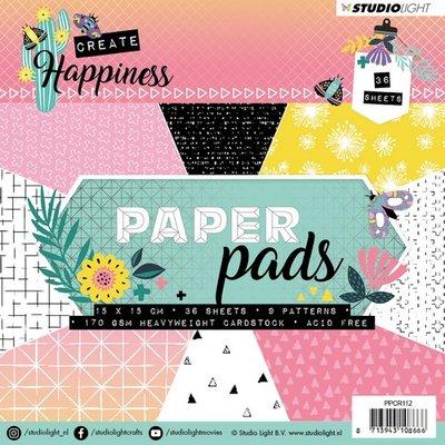 Studio Light Paper Pad 36 vel Create Happiness nr 112 PPCR112 15x15cm
