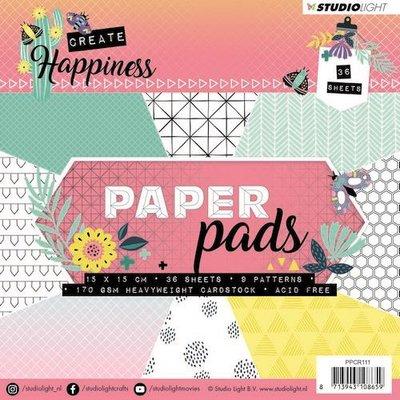 Studio Light Paper Pad 36 vel Create Happiness nr 111 PPCR111 15x15cm