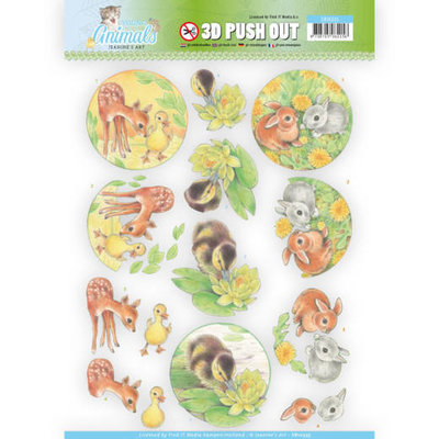 SB10335 3D Pushout - Jeanine's Art - Young Animals - Ducklings and Rabbits