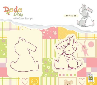 Nellies Choice DADA Die with clear stamp knuffels DDCS009 46x67mm