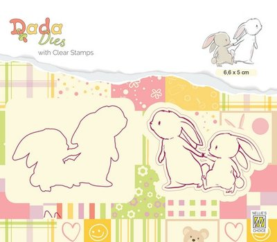 Nellies Choice DADA Die with clear stamp wandeling met mama DDCS008 66x50mm