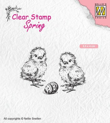 Nellies Choice Clearstempel - lente, kuikens met paasei SPCS008 55x40mm