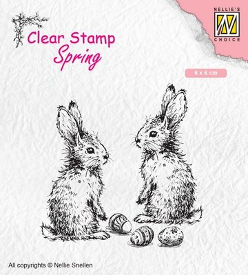 Nellies Choice Clearstempel - lente, twee hazen SPCS006 60x60mm