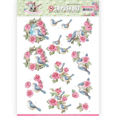 SB10333 3D Pushout - Amy Design - Spring is Here - Birds and Roses