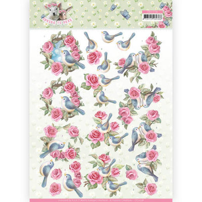 CD11278 3D Knipvel - Amy Design - Spring is Here - Birds and Roses