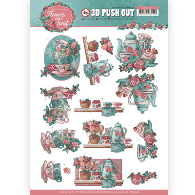 SB10340 3D Pushout - Yvonne Creations - Flowers with a Twist - Tea Time