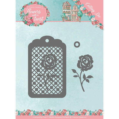 YCD10166 Dies - Yvonne Creations - Flowers with a Twist- Rose Label