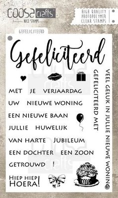 COOSA Crafts clearstamps A6 - Gefeliciteerd A6 (NL) COC-021