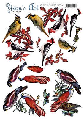 CD11304 3D Knipvel - Yvon's Art - Birds