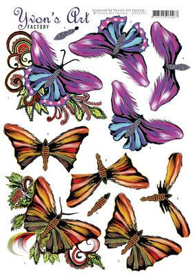 CD11303 3D Knipvel - Yvon's Art - Butterflies
