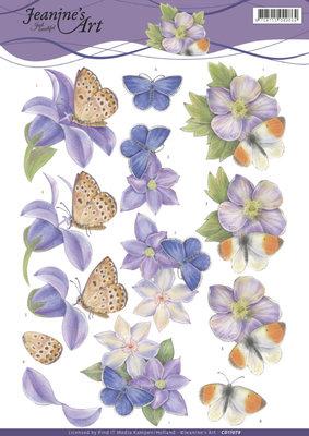 CD11079 3D Knipvel - Jeanine's Art - Purple Flowers