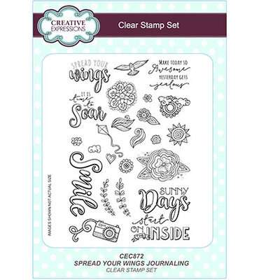 CEC872 Creative Expressions – Clear Stamp Set - Spread Your Wings Journaling