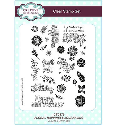 CEC879 Creative Expressions – Clear Stamp Set - Floral Happiness Journaling