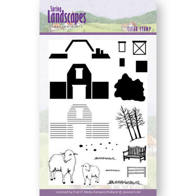 JACS10025 Clear Stamps - Jeanines Art- Spring Landscapes Farm