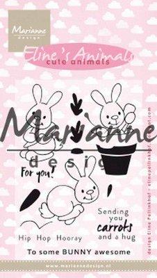 Marianne D Clear Stamp Eline's cute animals - konijntjes EC0178