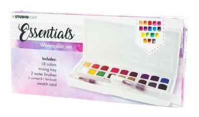 Studio Light Aquarelset 18 Colors + 2 Brushes Essentials nr.01 WCSL01