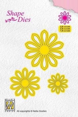 Nellies Choice Shape Die - blum 5 SD162 3,8x4+2,9x3+ 1,9x2cm