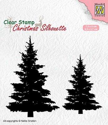 Nellies Choice Christmas Silhouette Clear stamps dennenbomen CSIL009 75x50 mm & 55x37mm