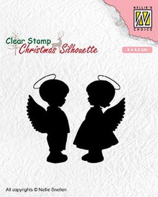 Nellies Choice Christmas Silhouette Clear stamps engelen jongen, meisje CSIL008 50x45mm