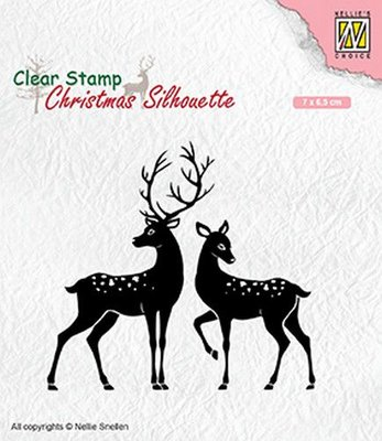 Nellies Choice Christmas Silhouette Clear stamps rendieren CSIL006 70x65mm