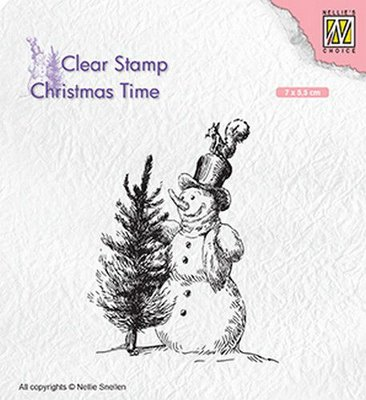 Nellies Choice Clearstempel - Christmas time sneeuwpop met boom CT029 70x55mm
