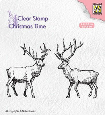 Nellies Choice Clearstempel - Christmas time - twee rendieren CT028 45x55mm & 60x45mm