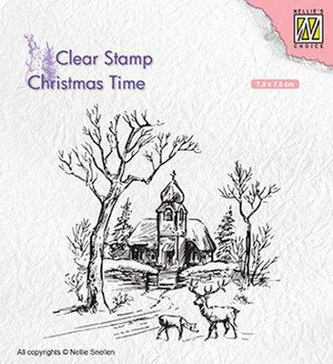 Nellies Choice Clearstempel - Christmas time - tafereel met kerk, rendier CT027 75x75mm