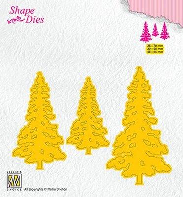Nellies Choice Shape Die - kerstbomen SD167 38x70mm/30x55mm/46x85mm