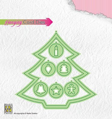 Nellies Choice Special Card Die - kerstboom ingehangen versiering HCD001 108x103mm \