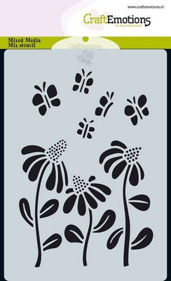 CraftEmotions Mask stencil Bugs - bloem A6 Carla Creaties