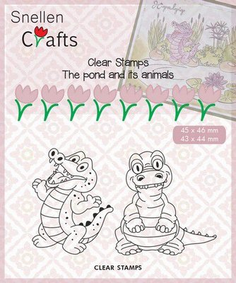 Nellies Choice Clearstempel - Pond Life - krokodil CLP002 45x46mm/43x44mm