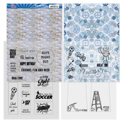 Yvonne Creations Big Guys Printed sheets (2 mica en 2 achtergrond)