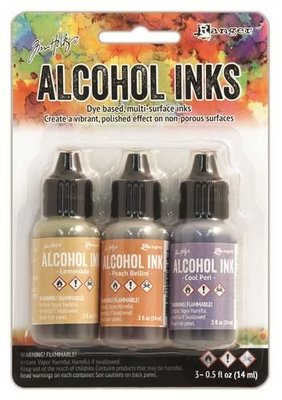 Ranger Alcohol Ink Kits  Wildflowers Lemonade,Peach Bellini,.. TAK25948 Tim Holtz 3x15ml