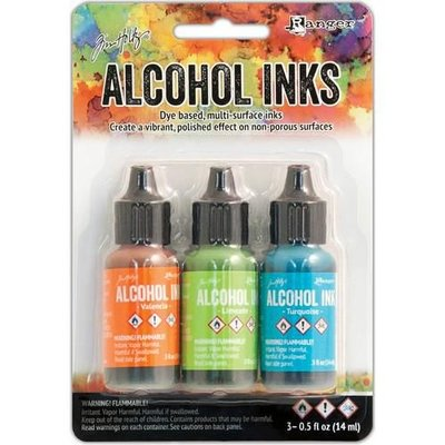 Ranger Alcohol Ink Kits  Spring Break Valencia/Limeade/Turq. TAK52555 Tim Holtz 3x15ml