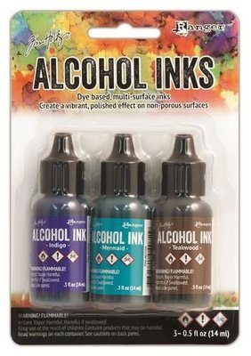 Ranger Alcohol Ink Kits  Mariner Indigo, Mermaid, Teakwood TAK40866 Tim Holtz 3x15ml