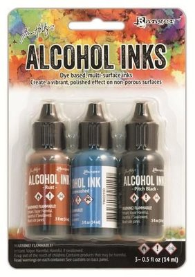 Ranger Alcohol Ink Kits  Miners Lantern Rust, Stonewashed, ..  Tim20721 Tim Holtz 3x15ml