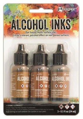 Ranger Alcohol Ink Kits  Cabin Cupboard Caramel, Ginger,..  Tim20691 Tim Holtz 3x15ml