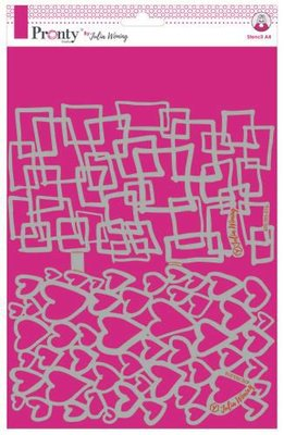 Pronty Stencil Hearts & Squares circles 470.765.016 A4 Julia Woning