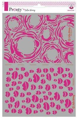 Pronty Stencil Kisses & grunge circles 470.765.014 A4 Julia Woning