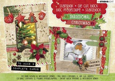 Studio Light Die cut blocs A5 12 vel Traditional Christmas nr. 25 A5STANSBLOKSL25