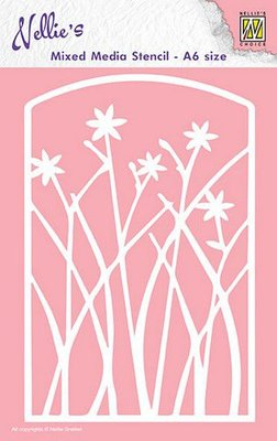 Nellies Choice Mixed Media Stencils A6 frame met bloemen MMSA6-002 A6