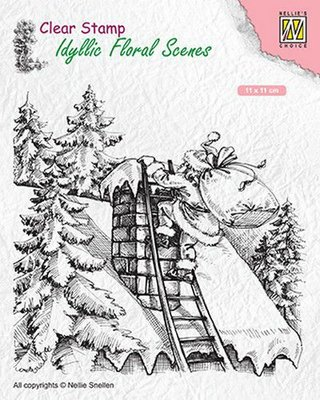 Nellies Choice clearstamp - Idyllic Floral Scenes Santa at work IFS018 110x110mm