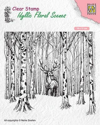 Nellies Choice clearstamp - Idyllic Floral Scenes Hert in het bos IFS017 100x110mm