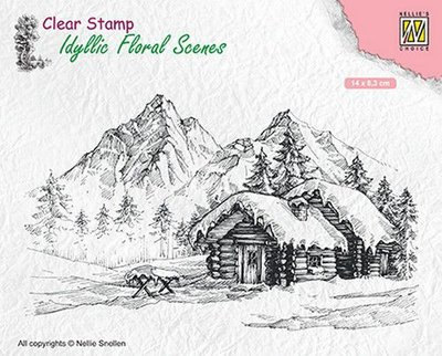 Nellies Choice clearstamp - Idyllic Floral Scenes landschap met cottage IFS015 140x83mm