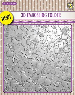 Nellies Choice 3D Emb. folder bloemen 3 EF3D003 152x152mm
