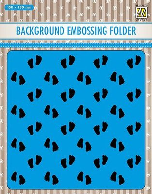 Nellies Choice Emb.folder Achtergrond babyvoetjes 2 EEB018 150x150mm